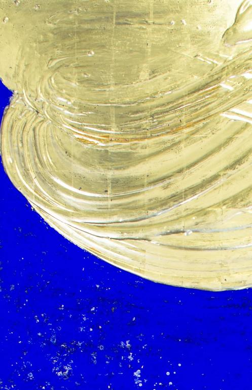 Untitled - Gold Abstract Painting by Nancy Lorenz