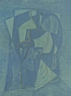 Cubistic Woman, on blue paper