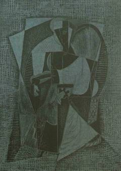 Cubistic Woman, on black paper