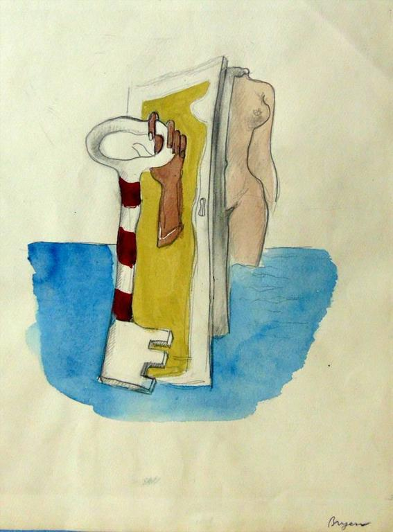 Surrealist Composition with Nude, Door and Key