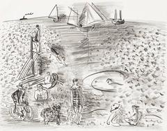 he Diver, or Cyclist, Bathers and Sailing Boats / Le Plongeoir, ou Cycliste, Bai