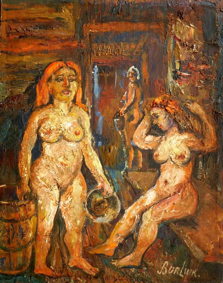 David Burliuk Nude Painting - Two Women in the Sauna