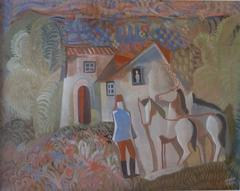 Rider and Two Horses in front of a House