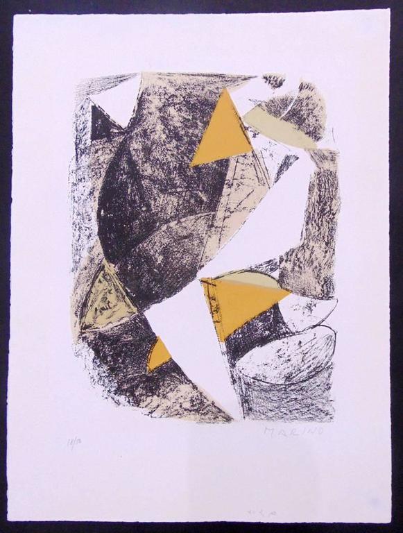 MARINO MARINI 1901-1980 Pistoia, Italy 1901-1980 Viareggio, Italy (Italian)   Title: Untitled  Senza Titolo, 1963   Technique: Original Hand Signed and Numbered Lithograph in Colours on BFK Rives Paper   Paper size: 44 x 33 cm. / 17.3 x 13