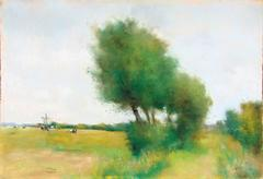 Landscape in Walcheren with Big Trees and Grazing Cows  Landschaft in Walcheren