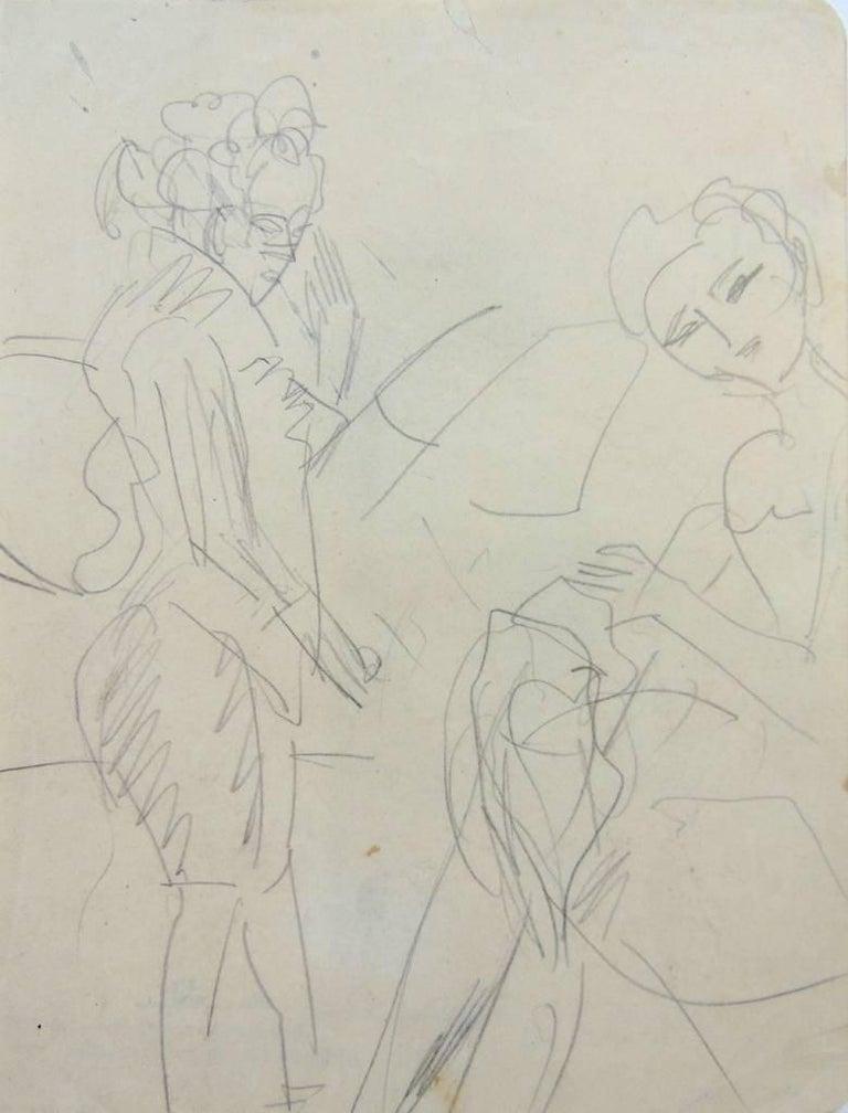 Ernst Ludwig Kirchner Nude - Standing Woman and Sewing Girl  Stehende Frau und nähendes Mädchen