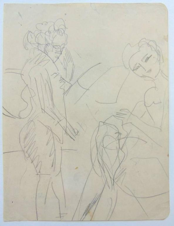 Standing Woman and Sewing Girl  Stehende Frau und nähendes Mädchen - Beige Nude by Ernst Ludwig Kirchner