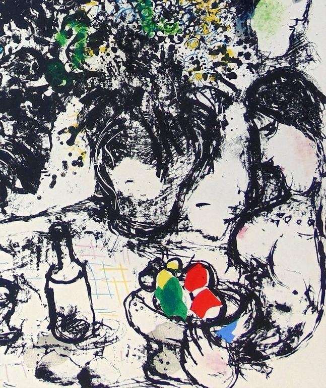 Still Life with Bouquet  - Gray Figurative Print by Marc Chagall