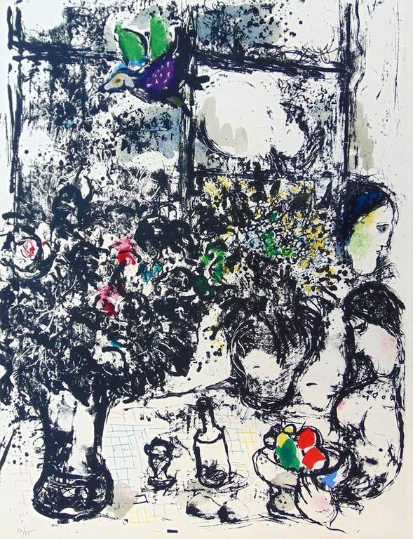 Marc Chagall Figurative Print - Still Life with Bouquet