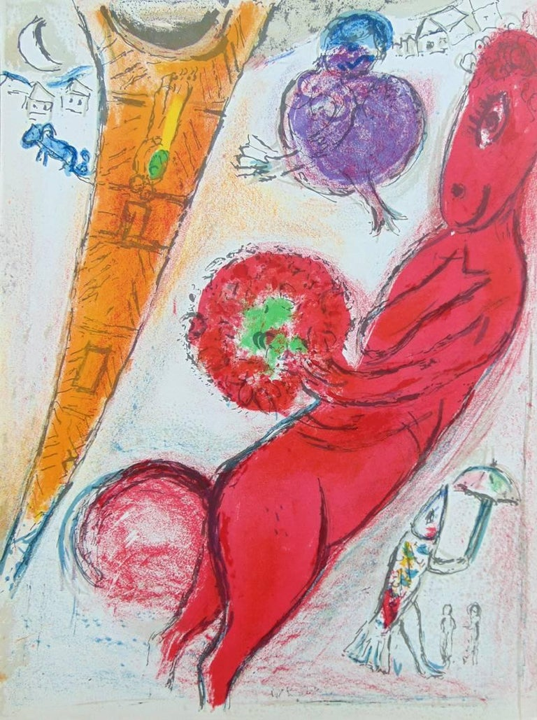Marc chagall eiffel tower with donkey derri re le for Marc chagall derriere le miroir