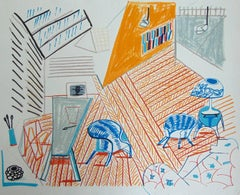Pembroke Studio with Blue Chairs and Lamp