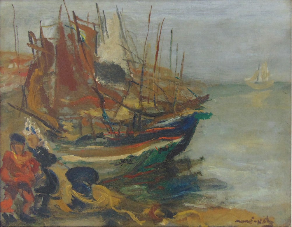 Mane katz fishermen by the boats painting for sale at for Katz fine art