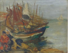 Fishermen by the Boats - Maritime Seaside Coastal