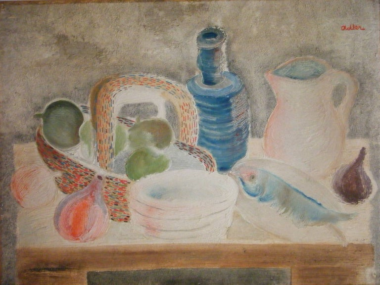 Jankel Adler Still-Life Painting - Still Life with Fish and Bottle