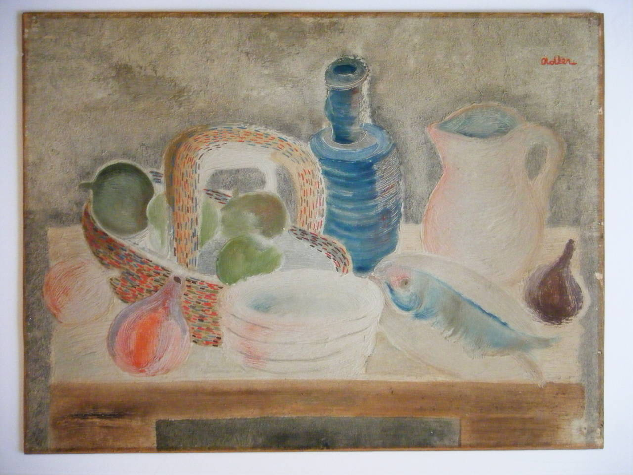 Still Life with Fish and Bottle - Painting by Jankel Adler