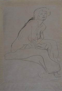 Seated Nude Leaning Forward