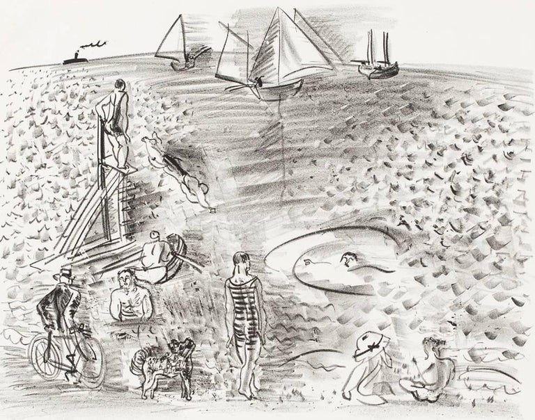 Raoul Dufy Landscape Print - The Diver, or Cyclist, Bathers and Sailing Boats / Le Plongeoir, ou Cycliste...
