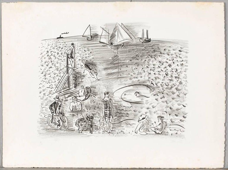 The Diver, or Cyclist, Bathers and Sailing Boats / Le Plongeoir, ou Cycliste... - Gray Landscape Print by Raoul Dufy