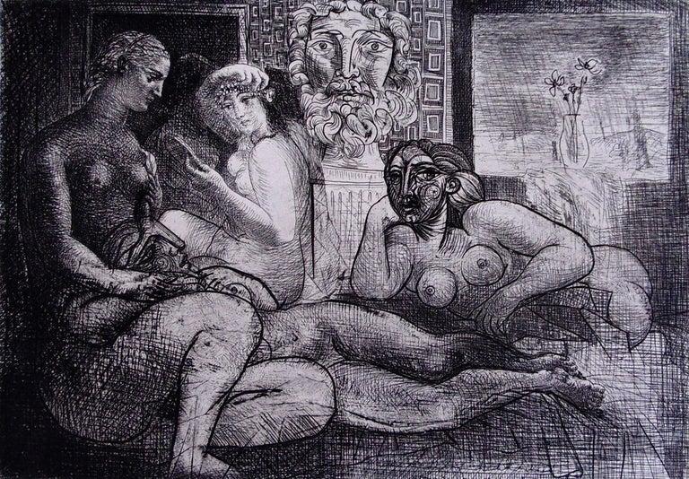 Pablo Picasso Portrait Print - Four Nude Women and a Sculpted Head