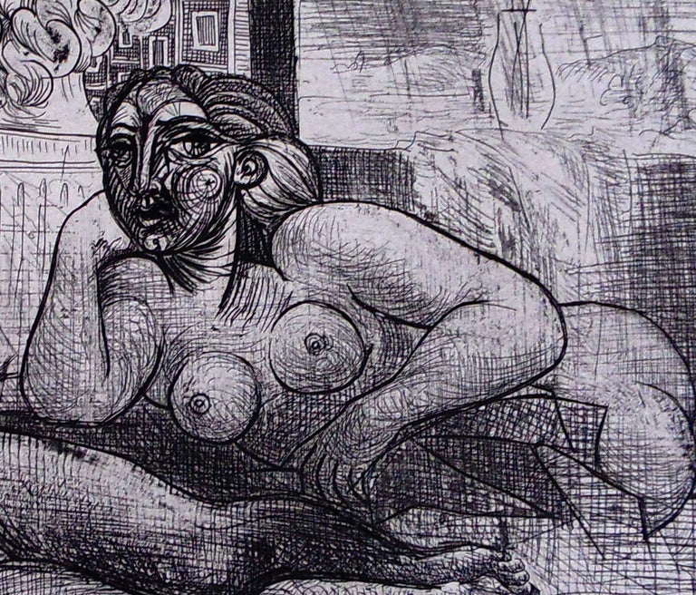 Four Nude Women and a Sculpted Head - Cubist Print by Pablo Picasso