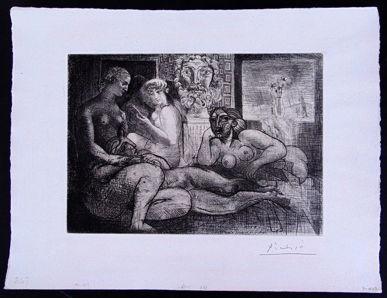 Four Nude Women and a Sculpted Head - Black Portrait Print by Pablo Picasso