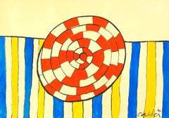 Wheel and Stripes - 20th Century, Abstract, Drawings and Watercolor Paintings