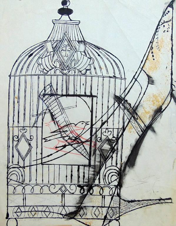 <i>Bird in a Cage and Shoe</i>, 1956. Offered by Gilden's Art Gallery