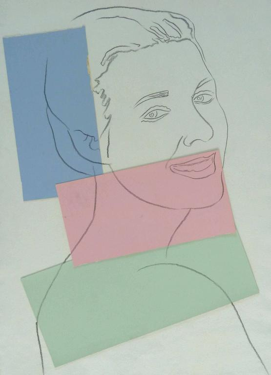 Presumed Portrait of Antoine Grunn (Female Portrait) with blue, pink and green