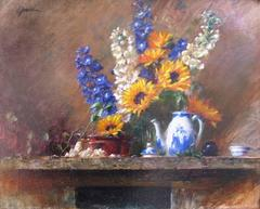 Still Life with Sunflowers and Chinese Teapot