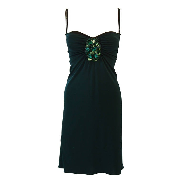 Dolce and Gabbana Green Jersey Dress with Rhinestones Size 44
