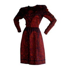 Pauline Trigere Vintage Numbered Purple Paisley Dress