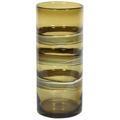 Italian Olive Glass Cylindrical Vase & Murano Crystal Coil Sculpture