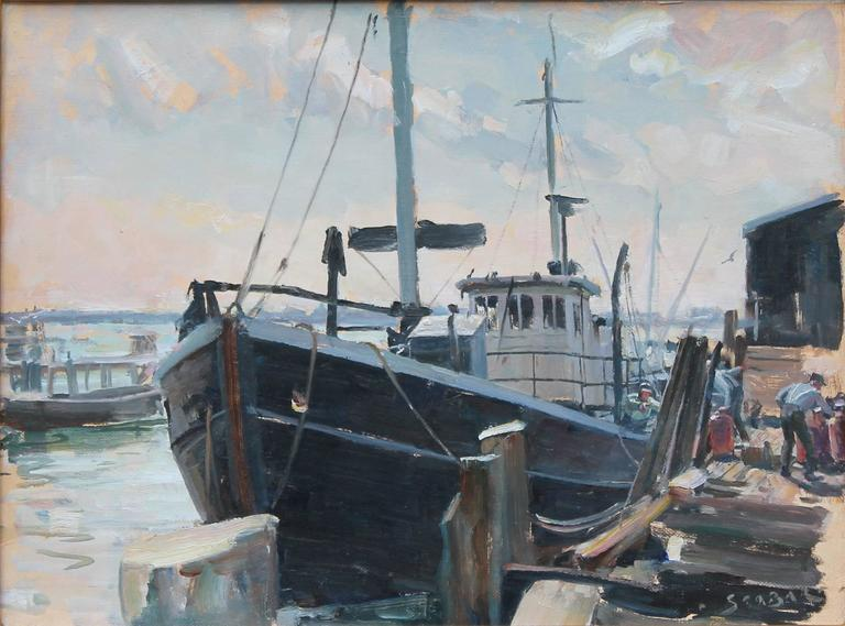 John stobart fishing pier newport painting at 1stdibs for Newport pier fishing