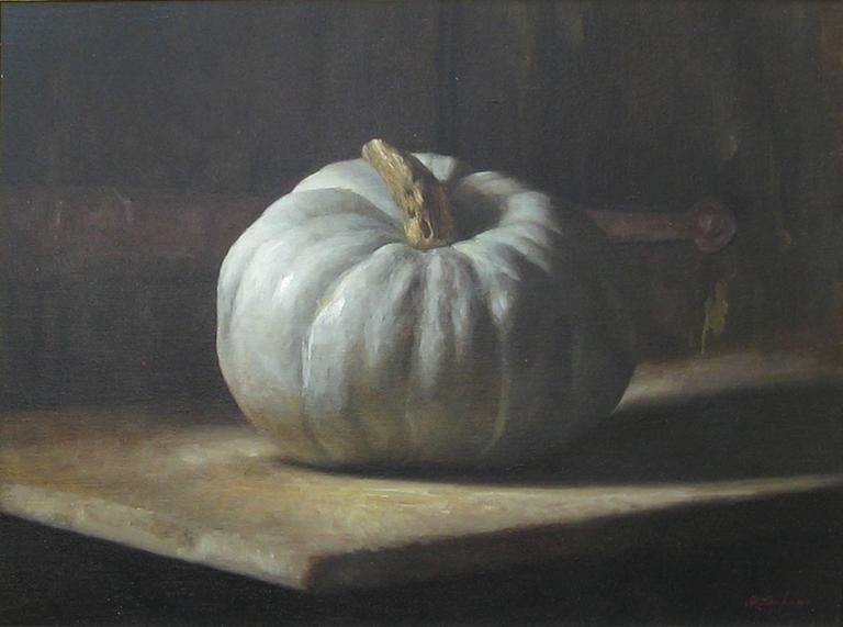 Sarah Lamb Still-Life Painting - White Pumpkin