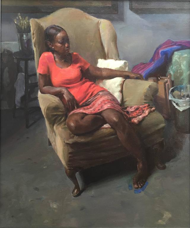 Max Ginsburg Interior Painting - Connie in old studio chair