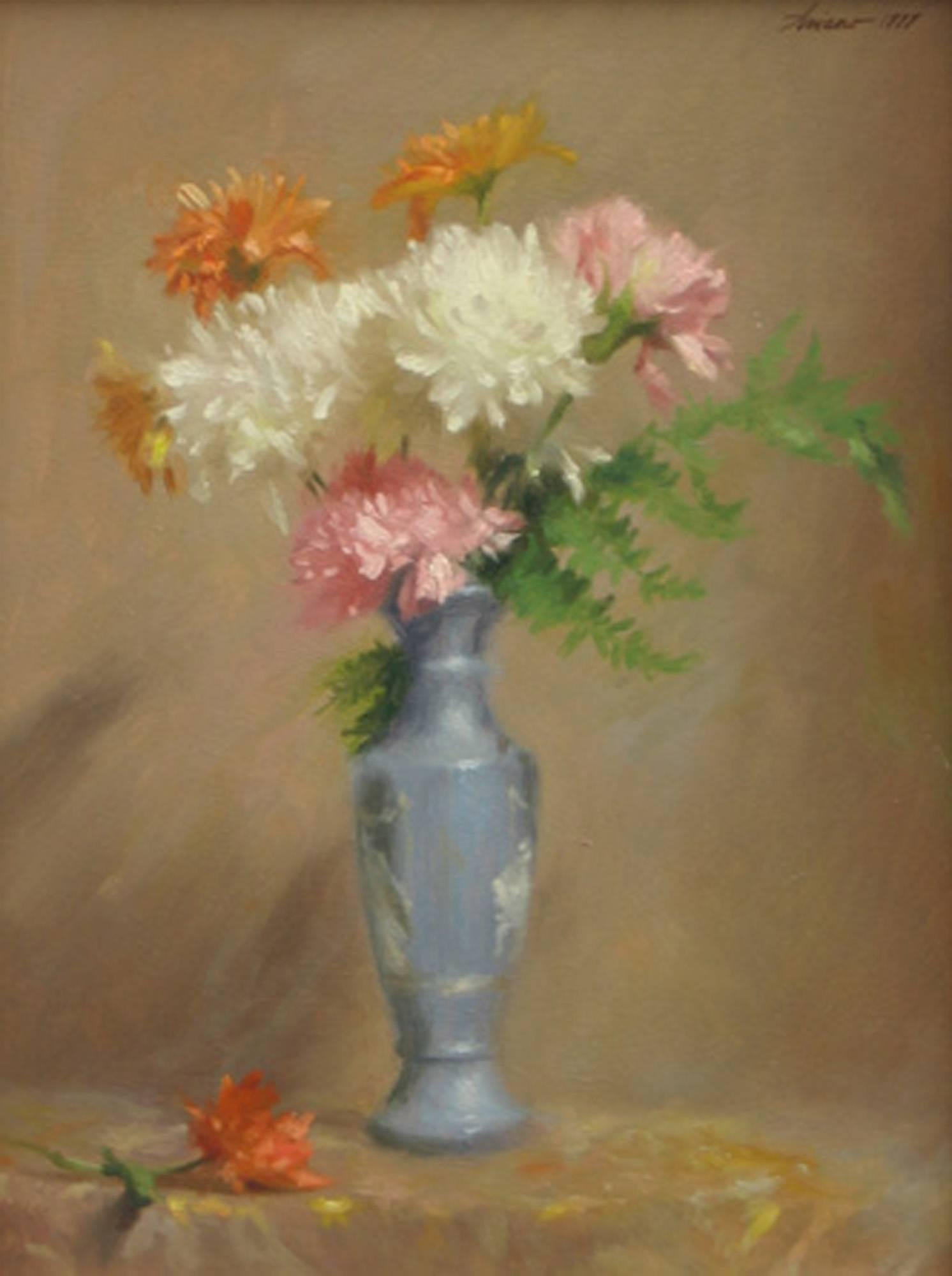 Mums in a Blue Vase