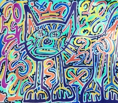 Green Cat with Basquiat Crown