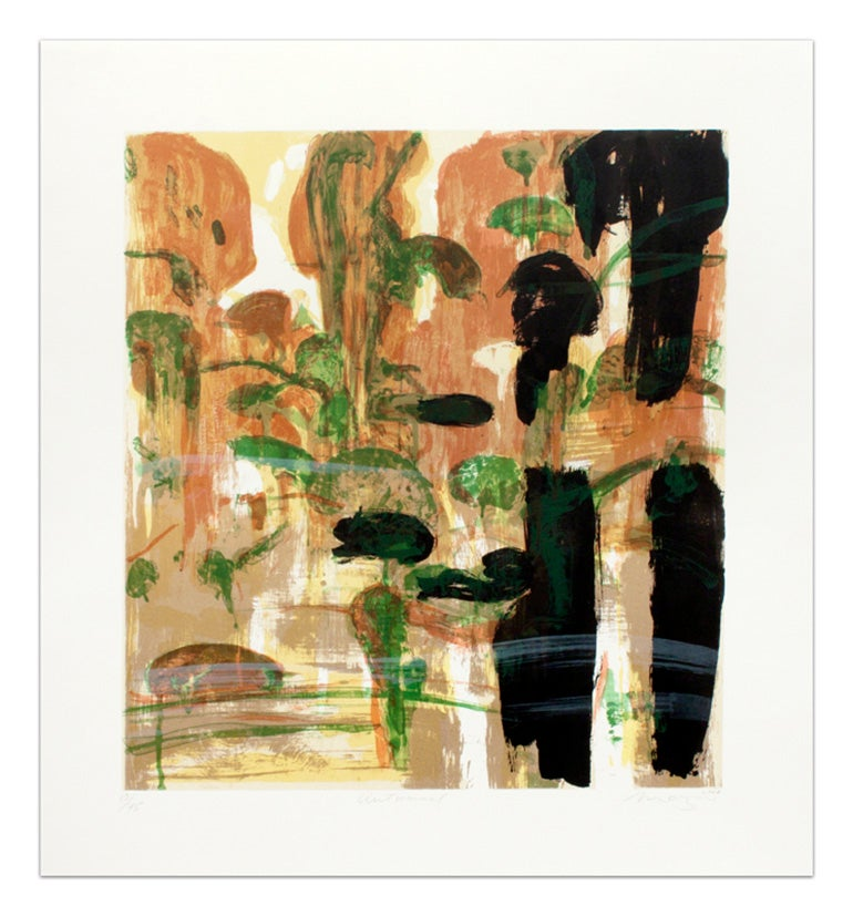 """Autumnal"" Michael Mazur Lithograph in Orange, Black, and Green"