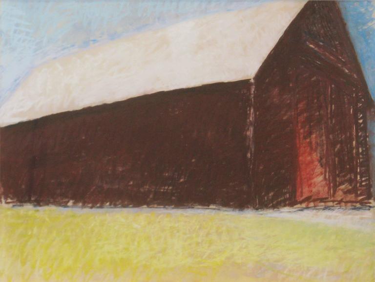 Wolf Kahn Landscape Art - White Roof Barn