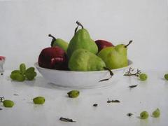 Apples and Pears with White Bowl