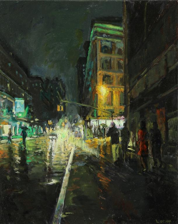 dean larson late night in new york framed painting for sale at 1stdibs. Black Bedroom Furniture Sets. Home Design Ideas