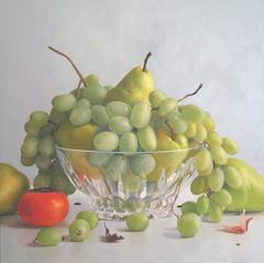 Grapes in Glass Bowl with Persimmon