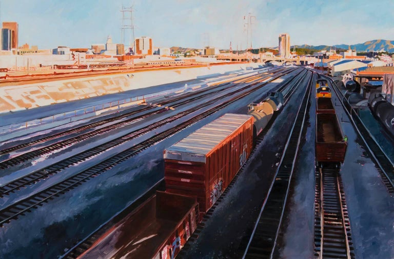 Patricia Chidlaw Landscape Painting - Freight Train in Shadow