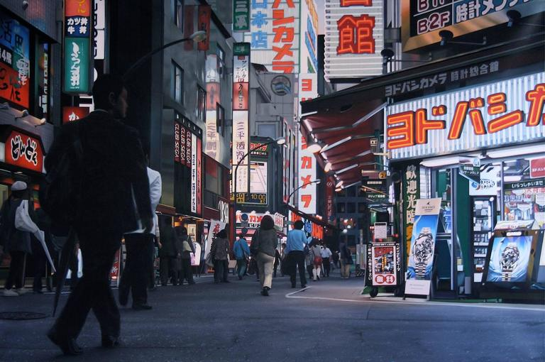 Richard Heisler Figurative Painting - Shinjuku Sunset II (100 Views of Toyko)