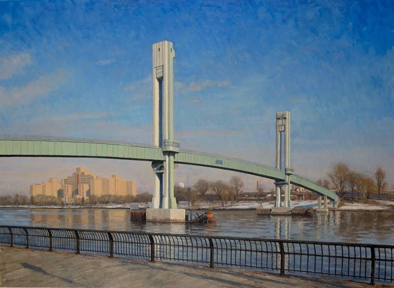 Bennett Vadnais Landscape Painting - Footbridge, Framed