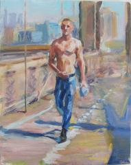 Man Walking Brooklyn Bridge 2, Framed