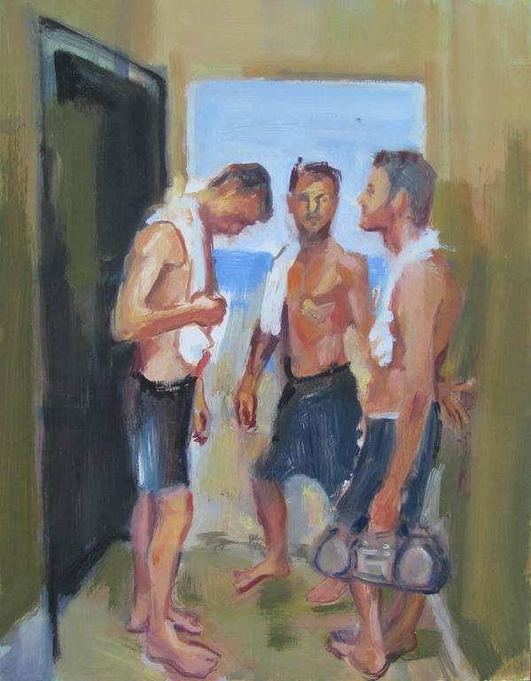 3 Friends by Seaside Doorway, Framed
