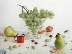 Grapes with Two Pears & Red Cup