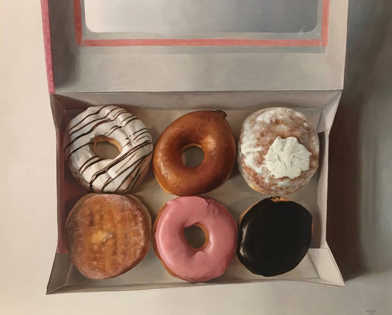 Gina Minichino Still-Life Painting - Donut Six Pack, Framed