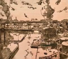 Scrap Metal Yard, Canal, framed